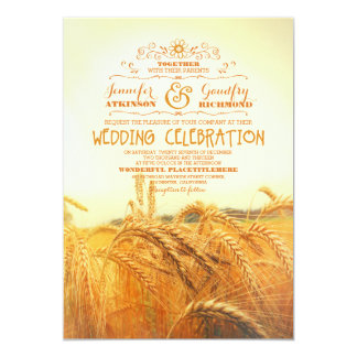 yellow wheat field rustic vintage wedding invites