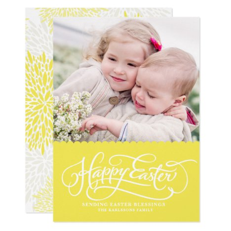 Yellow Whimsical Script Happy Easter Photo Card