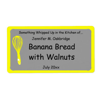 Yellow Whisk Personalized Homemade Food Label