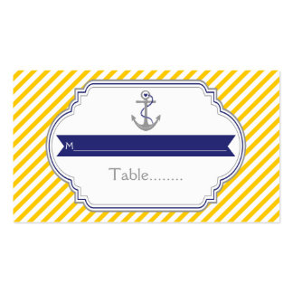 Yellow, white anchor nautical wedding place card Double-Sided standard business cards (Pack of 100)