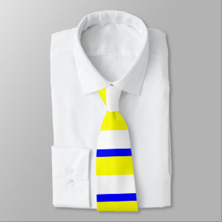 Yellow White and Blue Horizontally-Striped Tie