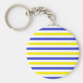 Yellow, White and Blue  Stripes Keychain