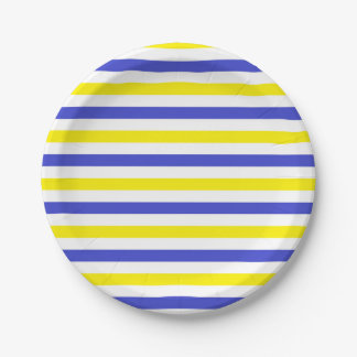 Yellow, White and Blue  Stripes Paper Plate