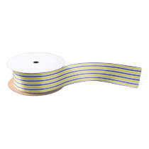 Yellow, White and Blue  Stripes Satin Ribbon