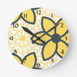 Yellow, White and Charcoal Modern Floral Round Wall Clocks