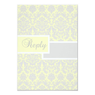 Yellow, White, and Gray Damask Reply Card