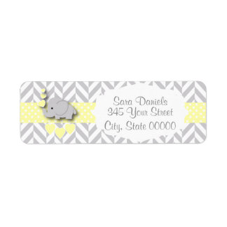Yellow, White and Gray Elephant Baby Shower Label