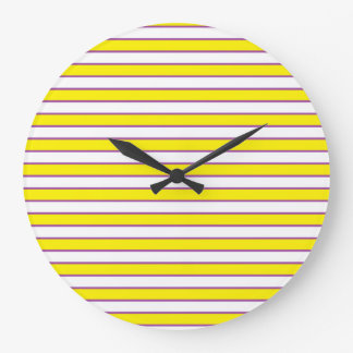 Yellow White and Purple Stripes Large Clock