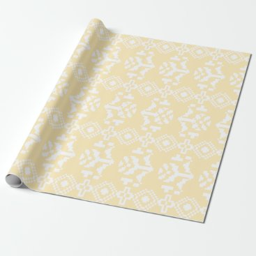 Aztec Themed yellow & White Aztec Floral Stripes Wrapping Paper