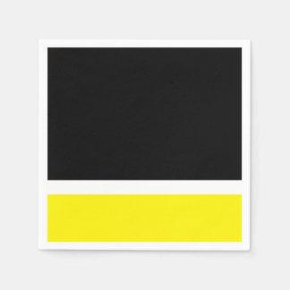 Yellow white black colorblock paper napkin