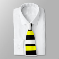 Yellow White & Black Custom Horizontally-Striped Tie