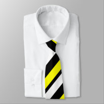 Yellow White & Black Custom Regimental Stripe Neck Tie
