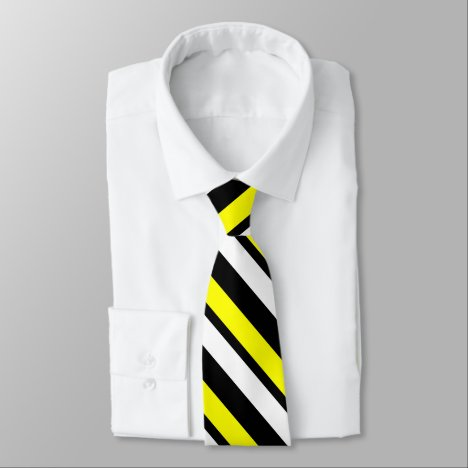 Yellow White Black Custom Thin Diagonally-Striped Neck Tie
