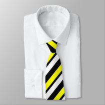 Yellow White & Black Custom Thin Regimental Stripe Tie