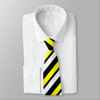 Yellow White & Black Custom Thin Regimental Stripe Tie