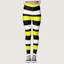 Yellow White & Black Horizontally-Striped Leggings