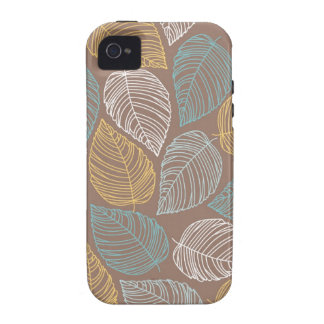 Yellow White Blue Leaf Pattern Design Case-Mate iPhone 4 Case
