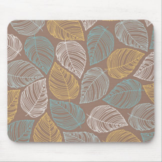 Yellow White Blue Leaf Pattern Design Mouse Pad