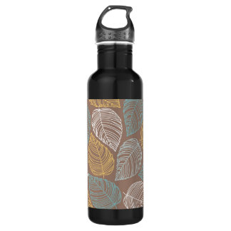 Yellow White Blue Leaf Pattern Design Stainless Steel Water Bottle