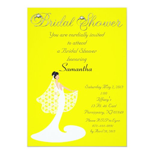 Yellow white bride bridal shower invitation zazzle for Yellow bridal shower invitations