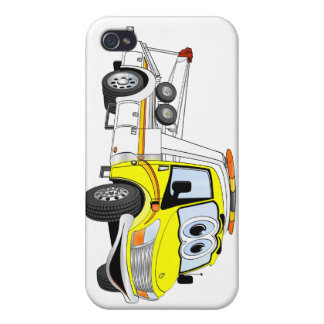 Yellow White Cartoon Tow Truck Cover For iPhone 4