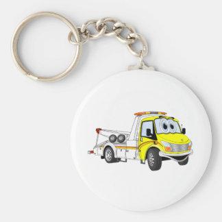 Yellow White Cartoon Tow Truck Keychain