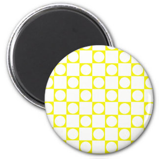 Yellow & White Check Board Refrigerator Magnets
