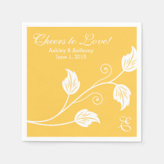 Yellow White Cheers to Love Personalized Wedding Napkin