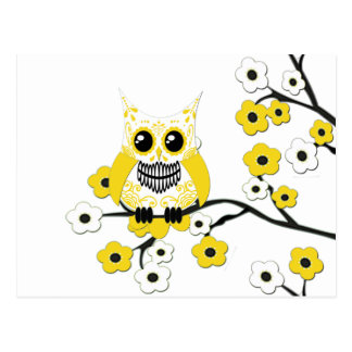 Yellow White Cherry Blossom Owl Postcard