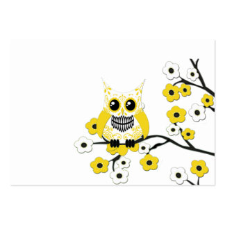 Yellow White Cherry Blossoms Owl Business Card