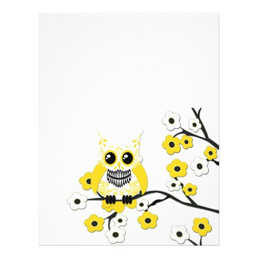 Yellow White Cherry Blossoms Owl Flyer