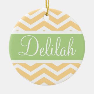 Yellow White Chevron Green Name Ceramic Ornament