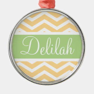 Yellow White Chevron Green Name Metal Ornament