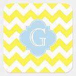 Yellow White Chevron Lt Blue Quatrefoil Monagram Square Sticker