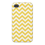 Yellow White Chevron Pattern Cover For iPhone 4