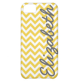 Yellow White Chevron Pattern Cover For iPhone 5C