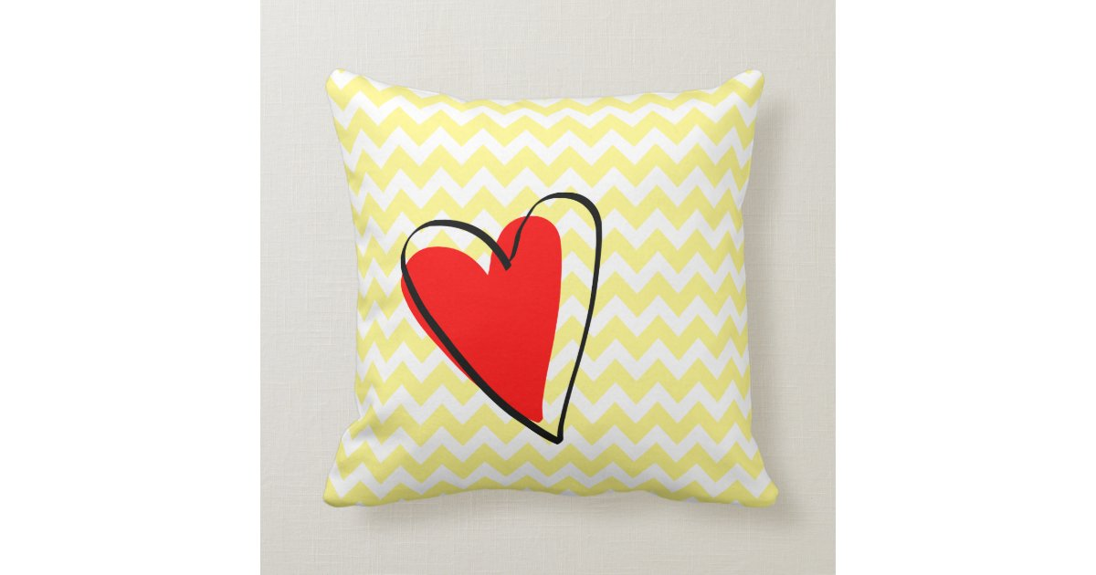 Red Heart Decorative Pillow : Yellow White Chevron Pattern Cute Red Heart Throw Pillow Zazzle