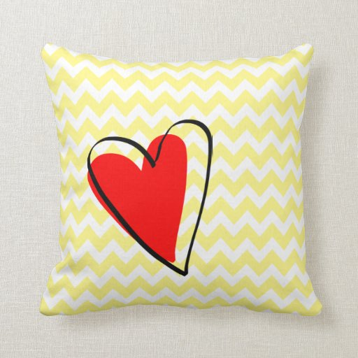 Red Heart Decorative Pillow : Yellow White Chevron Pattern Cute Red Heart Throw Pillows Zazzle