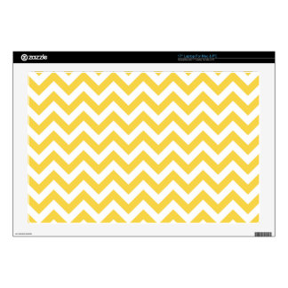 "Yellow White Chevron Pattern Decals For 17"" Laptops"