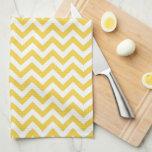 Yellow White Chevron Pattern Hand Towel