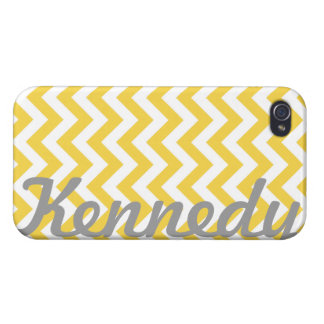 Yellow White Chevron Pattern Case For iPhone 4