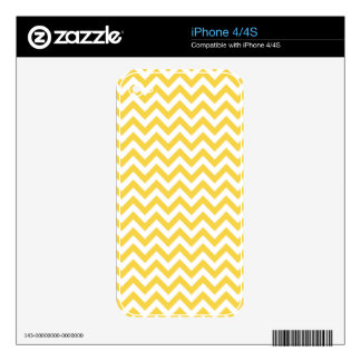 Yellow White Chevron Pattern Skins For The iPhone 4S