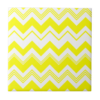 Yellow White Chevron Pattern Tiles