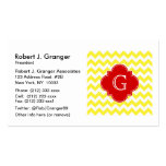 Yellow White Chevron Red Quatrefoil Monogram Business Card Template