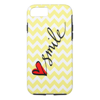 Yellow White Chevron Smile Typography Cute Heart iPhone 7 Case