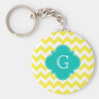 Yellow White Chevron Teal Quatrefoil Monogram Key Chains