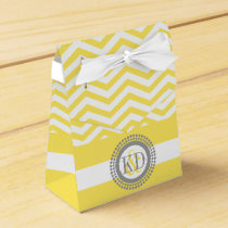 Yellow, white chevron zigzag pattern wedding favor box