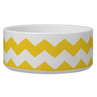 yellow  white chevrons dog bowls