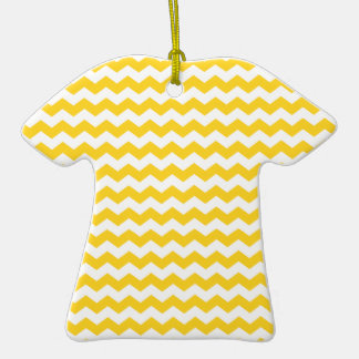 yellow  white chevrons Double-Sided T-Shirt ceramic christmas ornament