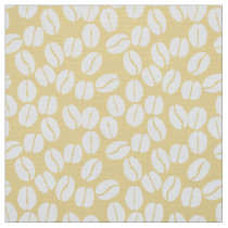 yellow white coffee beans pattern fabric